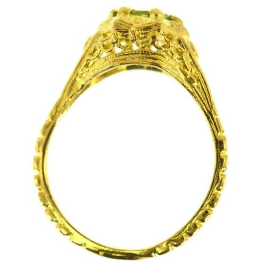 Other peridot, 10k solitiare, filigree ring Image 2