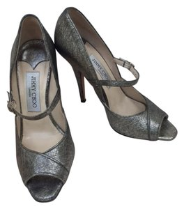 Jimmy Choo Maryjane Metallic Platinum Pumps