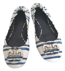Tory Burch Leather Leather Logo Blue/Off White Flats