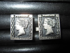 Sterling Silver One Penny Black Postage Stamp Cufflinks