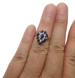 Size 6, 14k Yellow Gold, Diamond, Blue Sapphire, fashion Ring