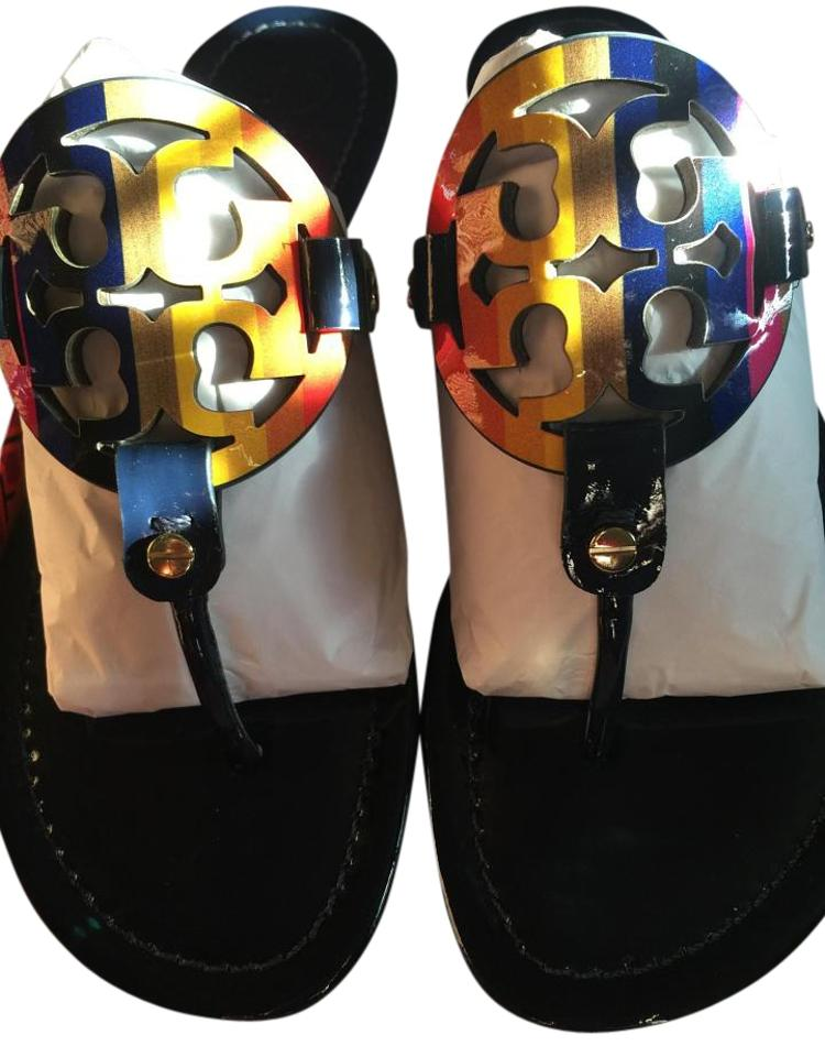 7e030d2ae6fc Tory Burch New Limited Edition Pretty Miller Rainbow Logo Sandals Image 0  ...