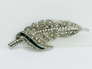 Adrienne Landau Simulated Pave Diamond and Emerald Brooch/Pin