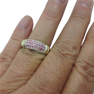size 8.25, sterling silver, yellow gold, pink gemstone ring