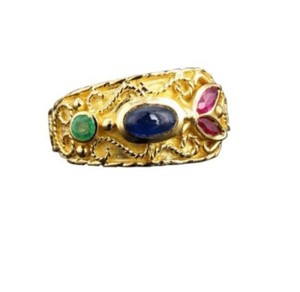 Other Size 4.5, 18k yellow gold, ruby, sapphire, emerald fashion ring, band