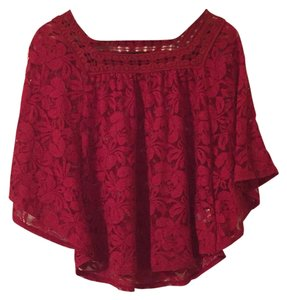 HeartSoul Lace Cardigan Shawl Red Top