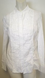 Charter Club Tuxedo Front Crisp Shirt Band Collar Button Down Shirt White