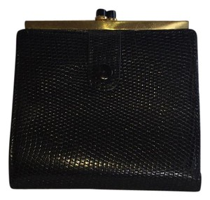 Gucci Vintage Gucci Lizard Wallet Black Onyx Kiss Lock