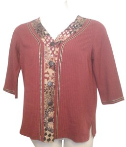 7da7481a87c Koret Tunic Shirt Accent Stitching Button Down Shirt Red