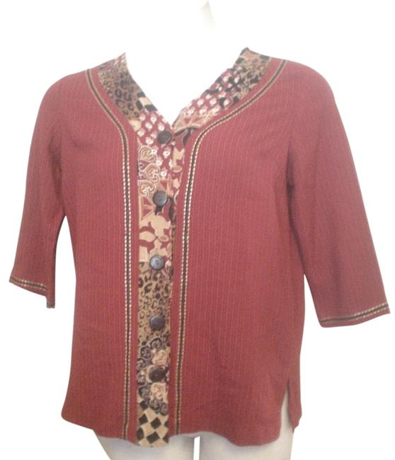 Preload https://img-static.tradesy.com/item/18749071/koret-red-tunic-shirt-animal-brocade-pattern-gold-black-accent-pp-button-down-top-size-petite-4-s-0-1-650-650.jpg