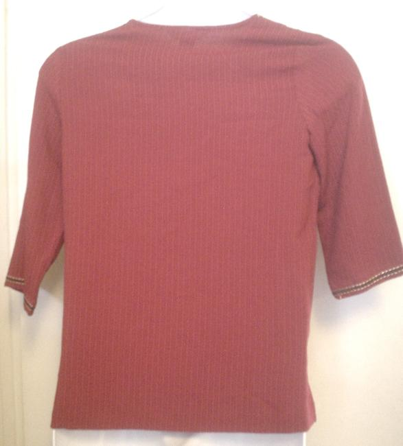 Koret Tunic Shirt Accent Stitching Button Down Shirt Red Image 1