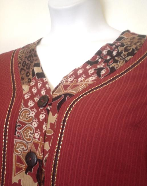 Koret Tunic Shirt Accent Stitching Button Down Shirt Red Image 2
