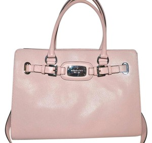 Michael Kors Hamilton Pink Blossom Leather Silver Tote in Blossom Pink