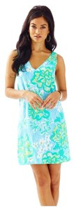 Lilly Pulitzer short dress Lagoon Green Wave Rider V-neck Calissa on Tradesy