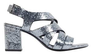 Zara Sparkle Strappy Chunky Heel Grey Sandals