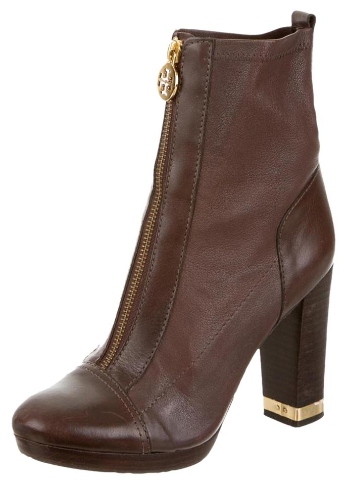 Tory Burch Brown Logo-embellished Ankle Ankle Logo-embellished Boots/Booties 4ded94