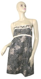 Rebecca Taylor short dress Grey / Pink Floral Beaded Spaghetti Strap on Tradesy