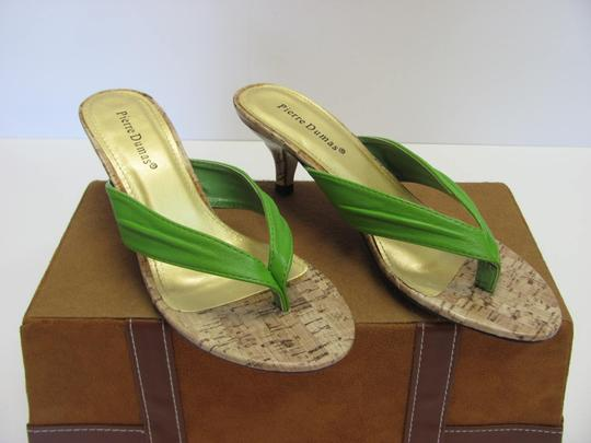 Pierre Dumas Size 7.00 M Very Good Condition Green, Neutral Sandals Image 1