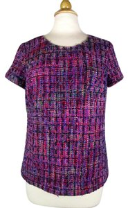 Boden Tweed Colorful Short Sleeve Top Multi