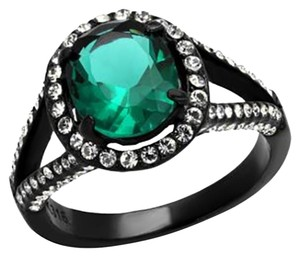 Other Synthetic Blue Zircon Stainless Steel Ring Ion Plating Women Ring