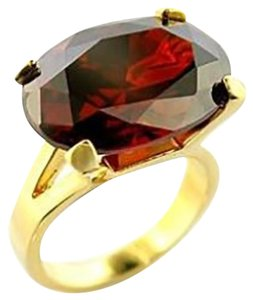 Other Cubic Zirconia Garnet Brass Ring Gold Women AAA Grade Ring