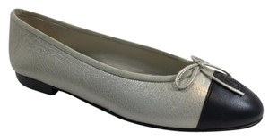 Chanel Leather Ballerina Silver Flats
