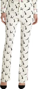 Piamita Cat Print Animal Print Silk Relaxed Pants Off White/Black