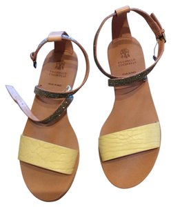 Brunello Cucinelli Yellow leather sterling beads Sandals