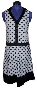 Wangmeicheng short dress White/Black A-line Collar Buttons Polka Dot Mod on Tradesy