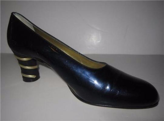 Escada Dressy Or Casual 40's Rockabilly Look Unique Curved Toes Mint Condition blue patent leather with gold Pumps Image 1