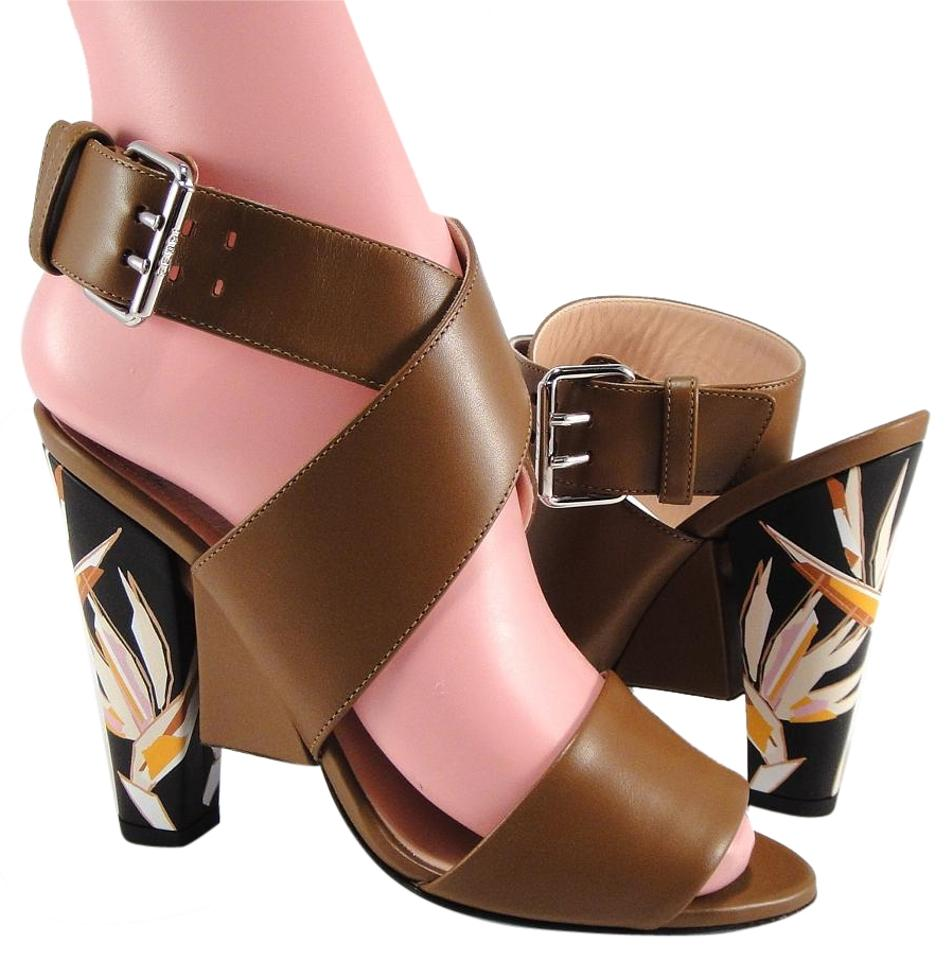 4e5c6877ced1 Fendi Brown Geometric Fall Strappy Flower Floral 6  728 Sandals Size ...