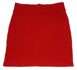 Forever 21 Knit Bodycon Mini Stretchy Mini Skirt Red