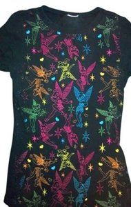 Disney Tinkerbell Stretchy-t T Shirt black with rainbow fairies