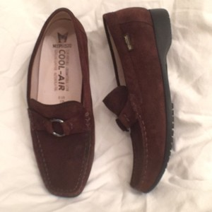 Mephisto Loafers Suede Leather Slip On Brown Flats