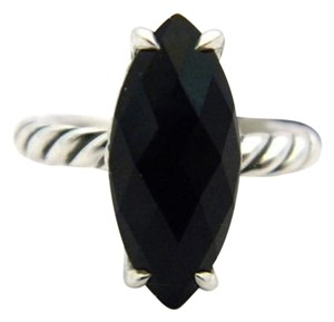 David Yurman size 6.25, sterling silver, black onyx, Marquise, fashion, unisex ring