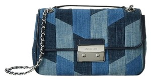 Michael Kors Denim Leather Blue Silver Sloan Shoulder Bag
