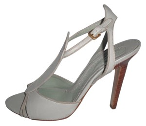 Sportmax Leather T-strap Pale Blue Sandals