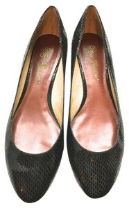 Matt Bernson Faux Snake Slip On Wedge Heel black Flats