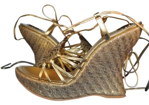 Baby Phat Metallic Leather Strappy Gold Wedges