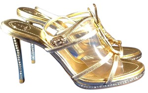 Baby Phat Stiletto Rhinestones Open Toe Metallic Gold Formal