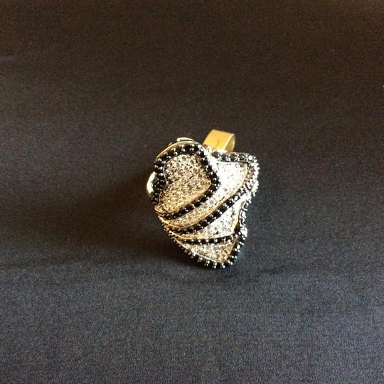 Other Black and White Cubic Zirconia Flower Petals Cocktail Ring Image 9