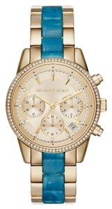 Michael Kors Michael Kors Women's Ritz Gold-Tone and Blue Watch MK6328