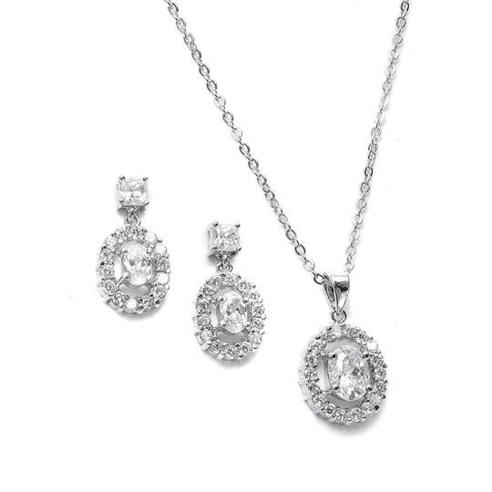 Other Cubic Zirconia Oval Earrings and Necklace Set [SHIPS NEXT DAY] Image 2