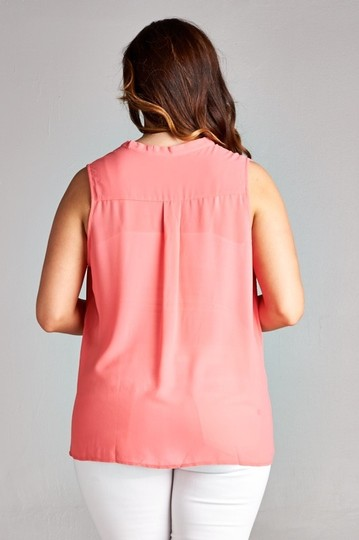 DNA Couture Coral Chiffon Sleeveless V-neck Top - 37% Off Retail hot sale
