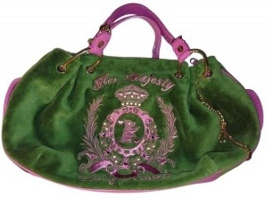 Preload https://img-static.tradesy.com/item/18754/juicy-couture-with-leath-green-and-pink-velour-satchel-0-0-540-540.jpg