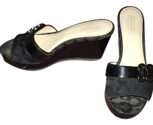 Coach Wedges Black Sandals