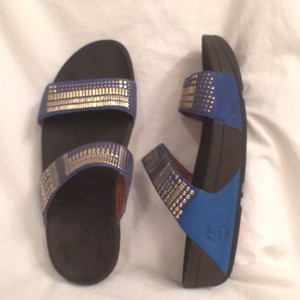 FitFlop Slide In Leather Comfortable Studded Slip Ons Blue Gold Sandals