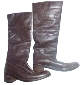 Pappagallo Retro Look Almond Toes Square Low Heels Pull Excellent Condition brown leather Boots