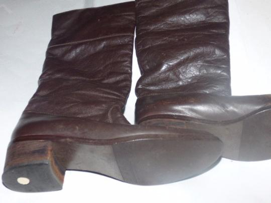 Pappagallo Retro Look Almond Toes Square Low Heels Pull Excellent Condition brown leather Boots Image 3