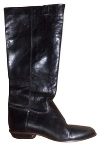 Pappagallo Retro Look Almond Toes Square Low Heels Pull Excellent Condition black leather Boots